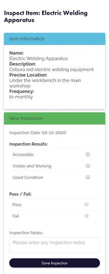 HiViz Asset inspection form